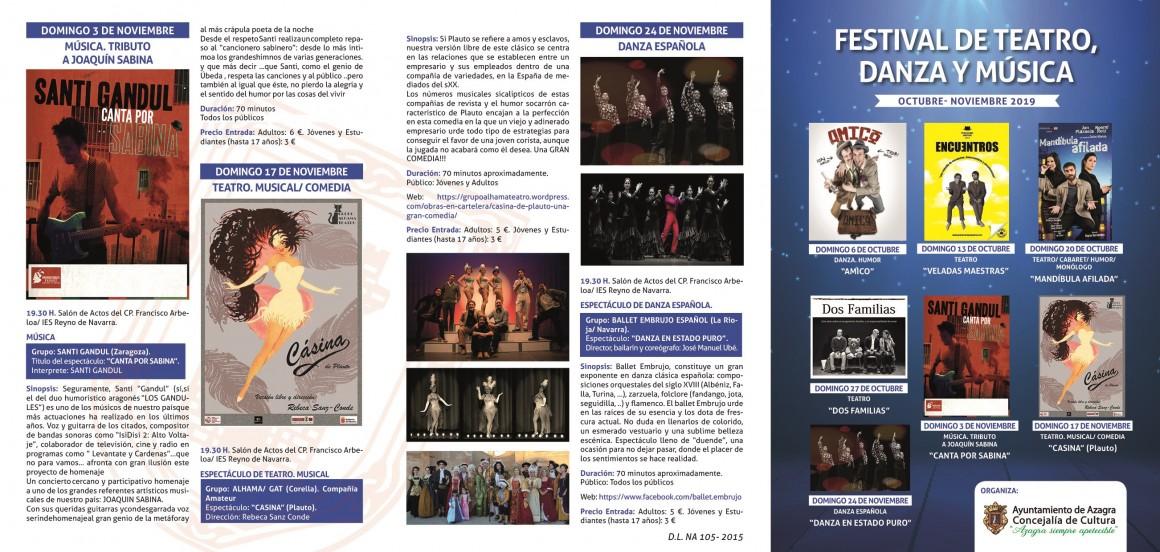 programa de teatro,danza, música octubre 20191